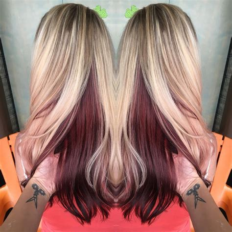 On Top And Underneath Hairstyles by With Violet Underneath Hair I Ve Done In 2019