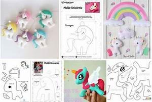 Unicornios de fieltro con moldes gratis para imprimir Ideas de Manualidades
