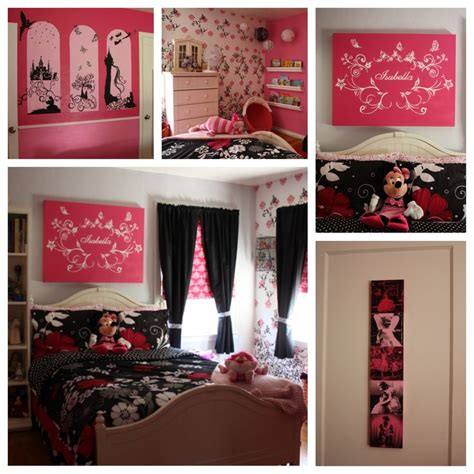 the completed bedroom pink and black disney themed diy home decor wall mural disney