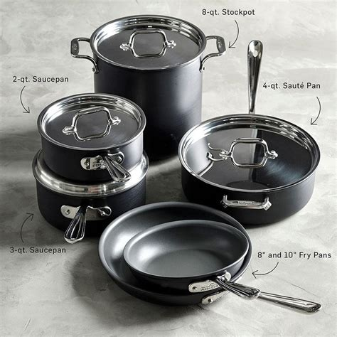 clad ns nonstick induction  piece cookware set williams sonoma ca