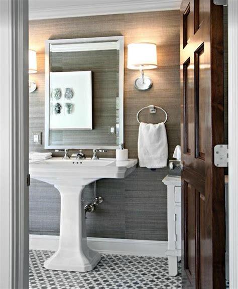 Gray Wallpaper  Contemporary Bathroom