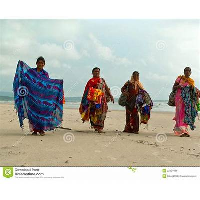 Colorful Beach Women Sellers. Goa Editorial Stock Image