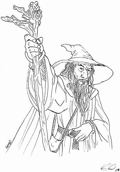Gandalf Grey Coloring Pages Drawing Sketch Getdrawings