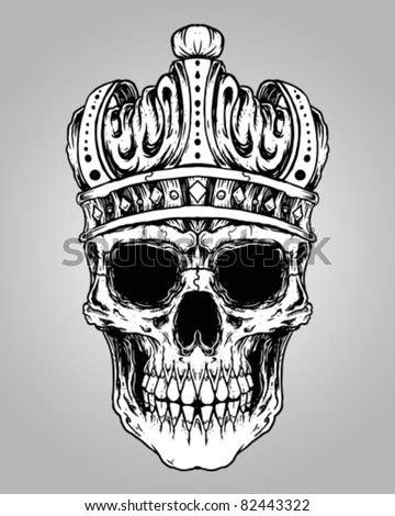 Hand Drawn King Skull Wearing Crown Stock Vector 414728155