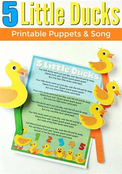 ducks printable puppets  song puppet