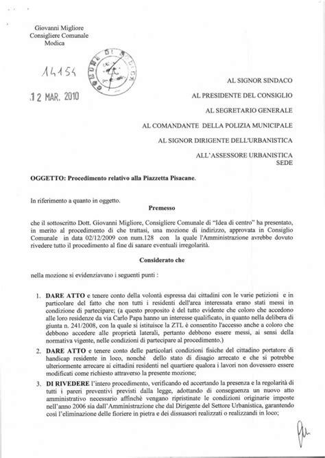 Lettera All Ufficio Personale by Fac Simile Richiesta Incontro Sindaco