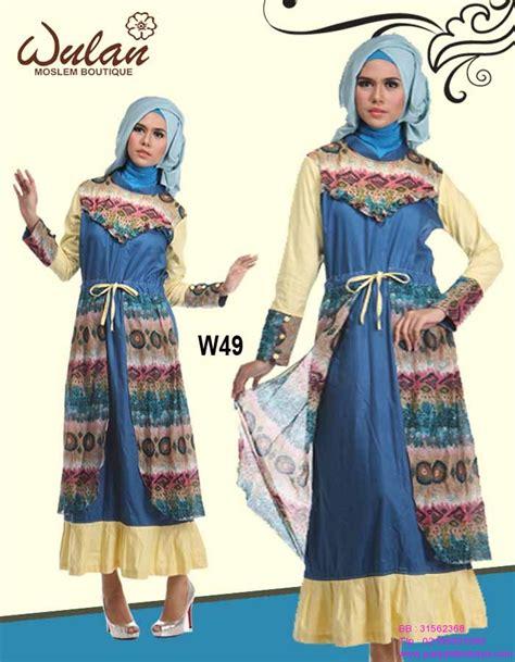 Busana Muslim Biru W49  Penjahit Kebaya Com (085890548801