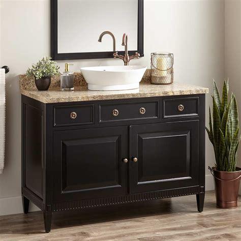 hawkins mahogany vessel sink vanity black bathroom
