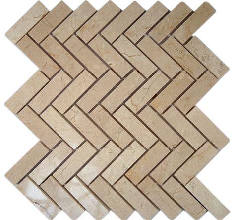 herringbone backsplash tile home depot crema marfil herringbone 1x3 marble mosaic tiles