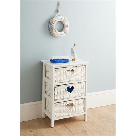 wicker 3 drawer chest storage furniture chest of drawers