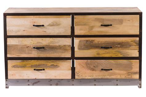 bureau industriel metal bois commode 6 tiroirs bois et métal industria miliboo