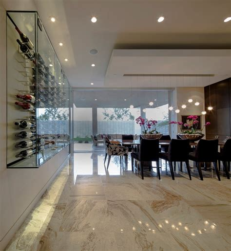 glass wine cabinet mid century modern home in scottsdale