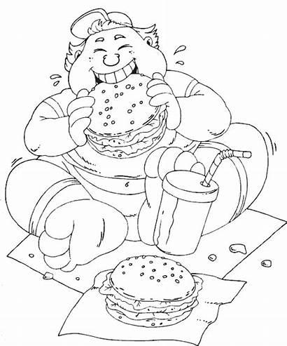 Eating Coloring Hamburger Pages Hamburgers Printable Burger