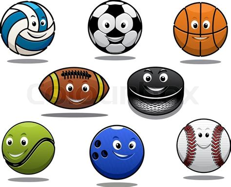 Set Of Cartoon Sports Balls Equipment With A Volleyball