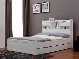 Lit Avec Rangement 140x190 : lit mederick avec rangements 140x190 pin blanc ou miel ~ Teatrodelosmanantiales.com Idées de Décoration