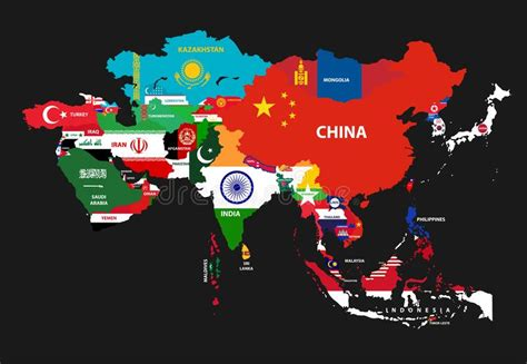 vector asia continent map  countries mixed
