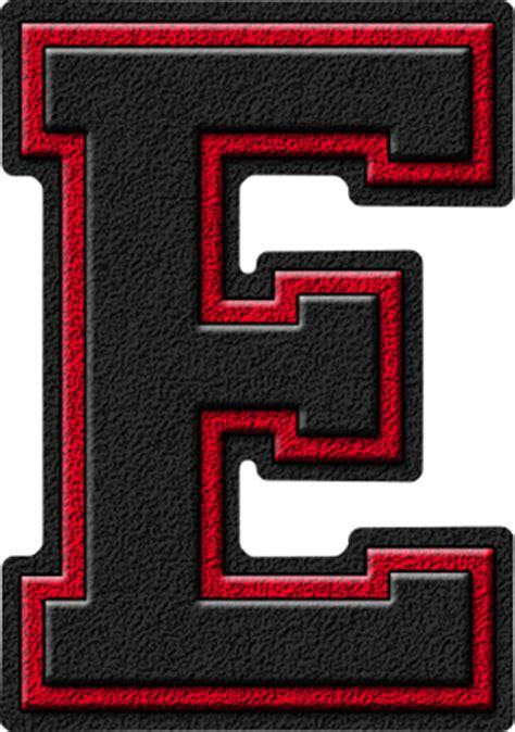 Presentation Alphabets Black & Cardinal Red Varsity Letter E