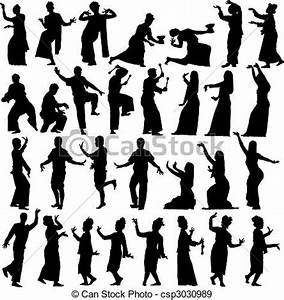Set of editable vector silhouettes of traditional thai ...