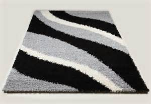 Tapis Salon Gris by Tapis Shaggy Noir Et Gris De Salon Vasco 8