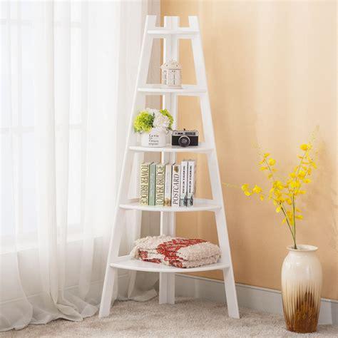 Wood Corner Bookshelf by 5 Shelf Bookcase Corner Stand Bookshelf Display Storage
