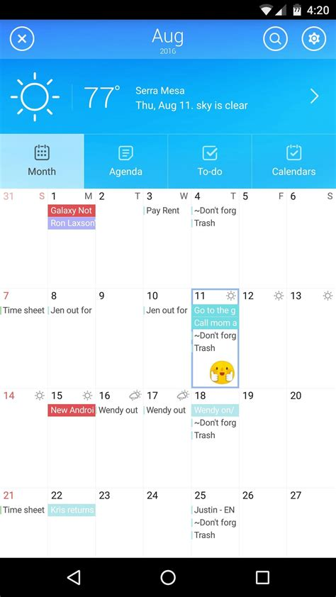 best android calendar app the best free calendar apps for android 171 android gadget hacks