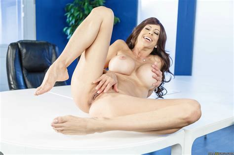 Alexis Fawx in black pantyhose stripping and posing naked in the office - My Pornstar Book ...