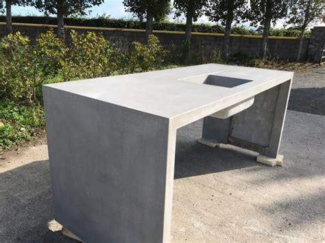 Polished Concrete Kitchen Island With Ramp Drain And