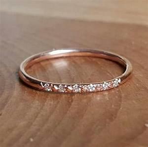14K Pink Gold Pave Diamond Ring 14K Stacking Rings 14K