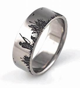 Men39s Titanium Duck Hunting Scene Wedding Ring Wedding