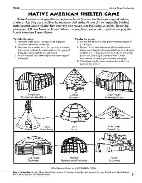 Native American Shelter Game  The Mailbox  School  First American Heritage Pinterest
