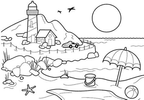 kumpulan gambar mewarnai pemandangan pantai untuk tk 2020