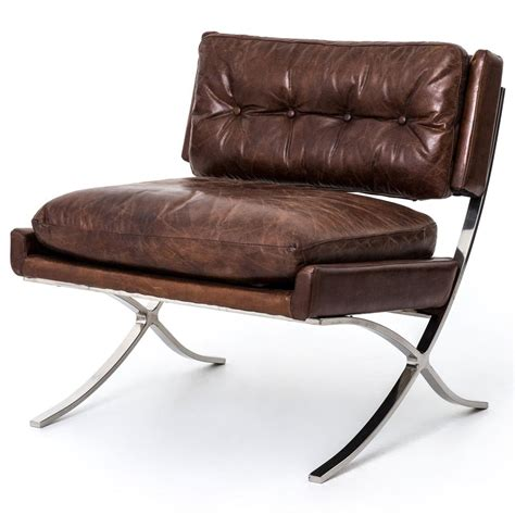 Chair : Harvey Industrial Loft Brown Leather Stainless Steel