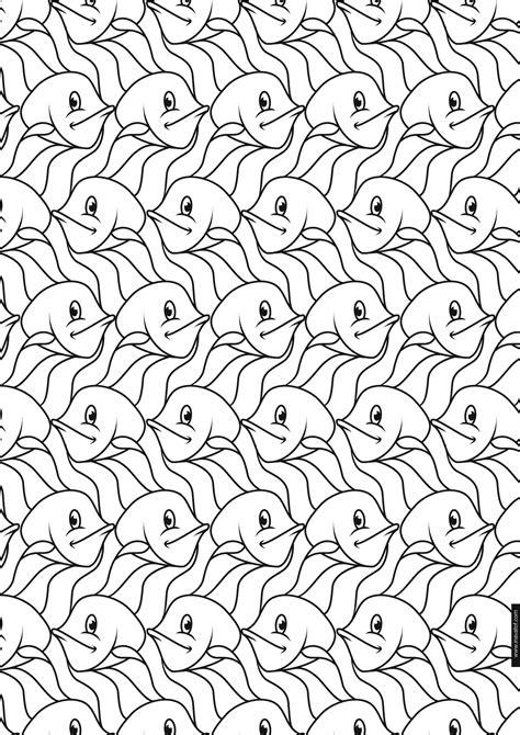 Escher Vogel Kleurplaat by Tessellation Coloring Pages Betweenpietyanddesire