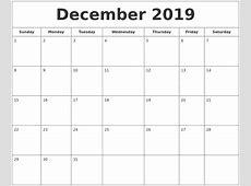 December 2019 Printable Calendar 2018 calendar printable
