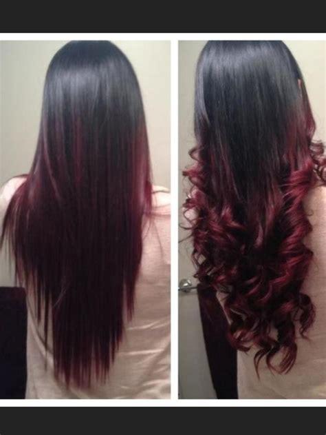 ombre black  burgundy hair pinterest ombre
