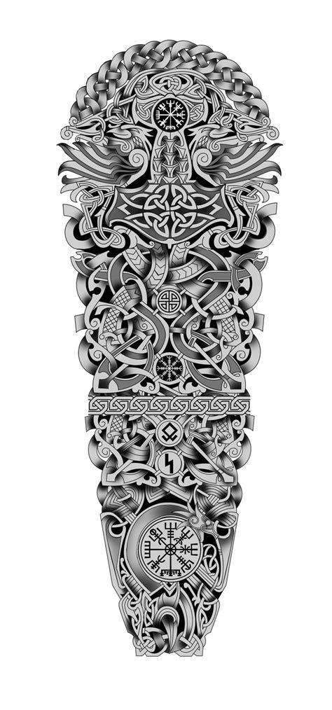 100$ Nordic Viking Celtic Full Sleeve Tattoo Design. Designer: Andrija Protic | Tattoo Concept
