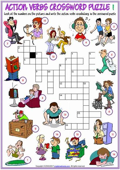 Verbs Action Crossword Worksheets Esl Puzzle Vocabulary