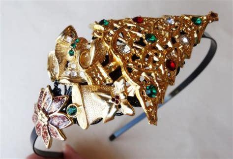 christmas tiara christmas tree gold headband