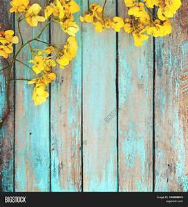 Yellow Flowers On Vintage Wooden Image & Photo | Bigstock