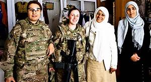 File From Left  Aziza  An Afghan Interpreter  And U S  Army Sgt  Ashley Rohr  Female Engagement