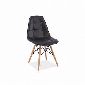 Chaise Scandinave Noir : chaise scandinave dsw axel aspect boutonn en simili cuir ~ Teatrodelosmanantiales.com Idées de Décoration