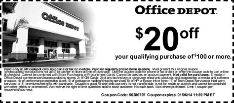 Office Depot Coupon Code by Office Depot Coupons 20 100 At Office Depot Or