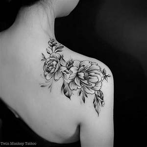 Black And White Peony Flowers Tattoo On Right Back Shoulder
