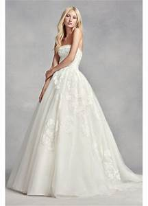 white by vera wang strapless tulle wedding dress davids With vera wang strapless wedding dress