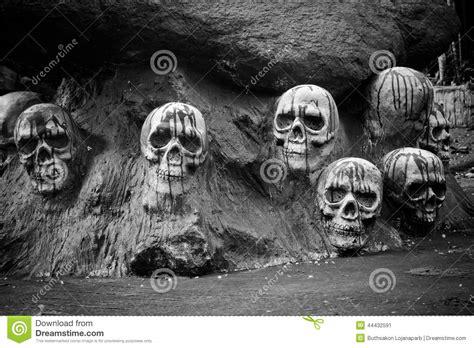 Human Skulls Sculpture Black And White. Stock Photo