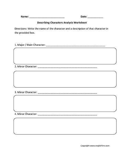 describing character analysis worksheets englishlinx board describing characters