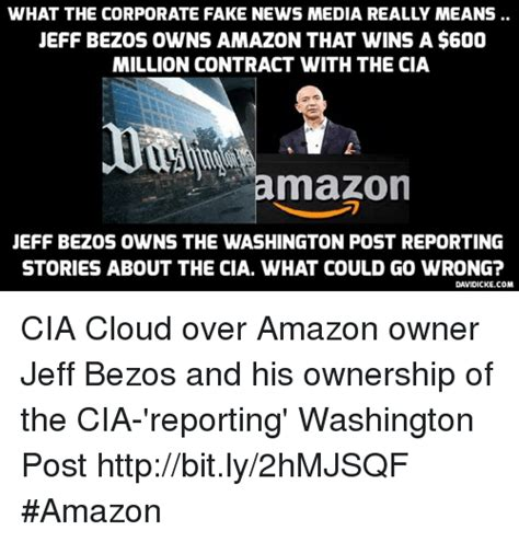 Jeff Bezos Memes - what the corporate fake news media really means jeff bezos owns amazon that wins a 600 million