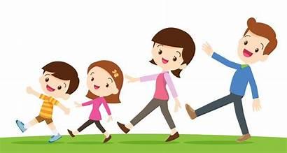 Walking Children Vector Role Parents Happy Cartoon