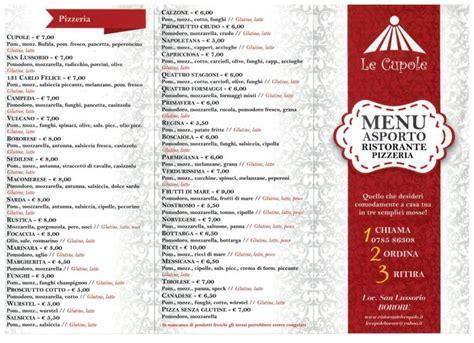pizzeria le cupole ristorante pizzeria le cupole borore offerta menu