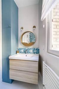 stunning salle de bain bleu et bois pictures amazing With meuble salle de bain bleu turquoise